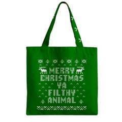 Ugly Christmas Sweater Zipper Grocery Tote Bag by Onesevenart