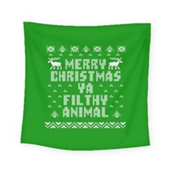 Ugly Christmas Sweater Square Tapestry (small) by Onesevenart