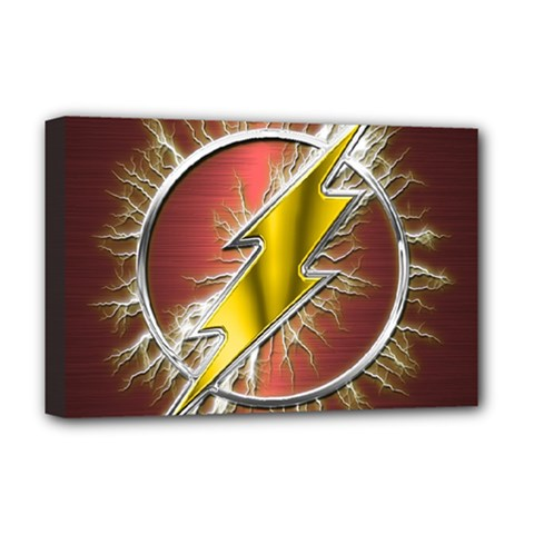 Flash Flashy Logo Deluxe Canvas 18  X 12   by Onesevenart