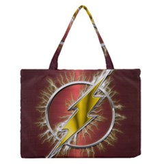 Flash Flashy Logo Medium Zipper Tote Bag by Onesevenart