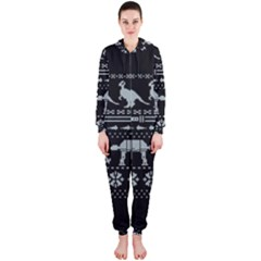 Holiday Party Attire Ugly Christmas Black Background Hooded Jumpsuit (ladies)  by Onesevenart
