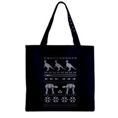 Holiday Party Attire Ugly Christmas Blue Background Zipper Grocery Tote Bag by Onesevenart