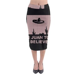 I Juan To Believe Ugly Holiday Christmas Black Background Midi Pencil Skirt by Onesevenart