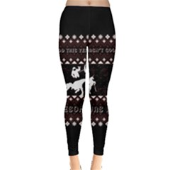I Wasn t Good This Year, I Was Awesome! Ugly Holiday Christmas Black Background Leggings  by Onesevenart