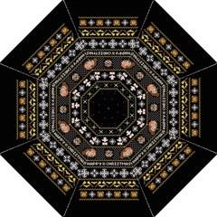 Merry Nerdmas! Ugly Christma Black Background Folding Umbrellas by Onesevenart