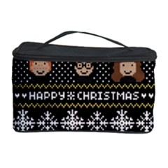 Merry Nerdmas! Ugly Christma Black Background Cosmetic Storage Case by Onesevenart