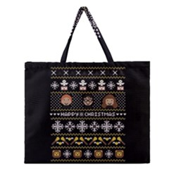 Merry Nerdmas! Ugly Christma Black Background Zipper Large Tote Bag by Onesevenart