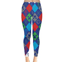 Minecraft Ugly Holiday Christmas Leggings  by Onesevenart