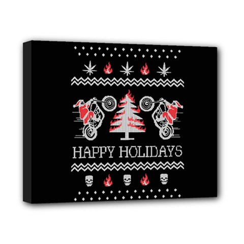Motorcycle Santa Happy Holidays Ugly Christmas Black Background Canvas 10  X 8  by Onesevenart