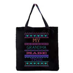 My Grandma Made This Ugly Holiday Black Background Grocery Tote Bag by Onesevenart
