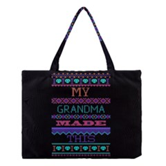 My Grandma Made This Ugly Holiday Black Background Medium Tote Bag by Onesevenart