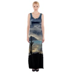 Cactus Sunset Maxi Thigh Split Dress by JellyMooseBear