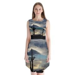 Cactus Sunset Sleeveless Chiffon Dress