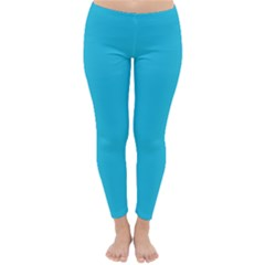 Neon Color - Brilliant Arctic Blue Classic Winter Leggings by tarastyle