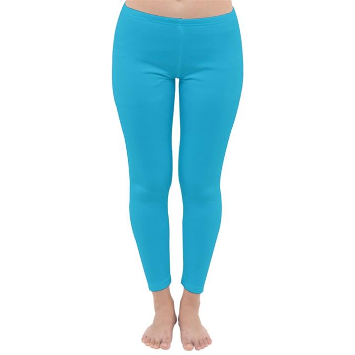 Neon Color - Brilliant Arctic Blue Classic Winter Leggings