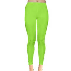 Neon Color   Brilliant Charteuse Green Leggings  by tarastyle