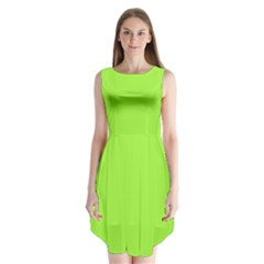 Neon Color   Brilliant Charteuse Green Sleeveless Chiffon Dress