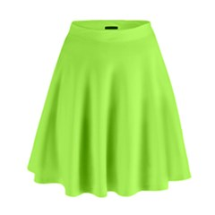 Neon Color   Brilliant Charteuse Green High Waist Skirt