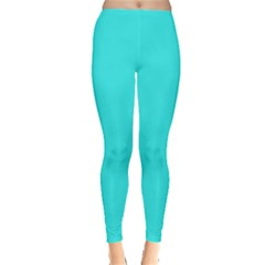 Neon Color - Brilliant Cyan Leggings  by tarastyle
