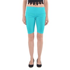 Neon Color   Brilliant Cyan Yoga Cropped Leggings by tarastyle