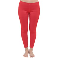 Neon Color   Brilliant Red Classic Winter Leggings by tarastyle