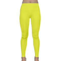 Neon Color   Brilliant Yellow Classic Yoga Leggings by tarastyle