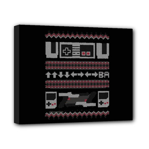 Old School Ugly Holiday Christmas Black Background Canvas 10  X 8  by Onesevenart