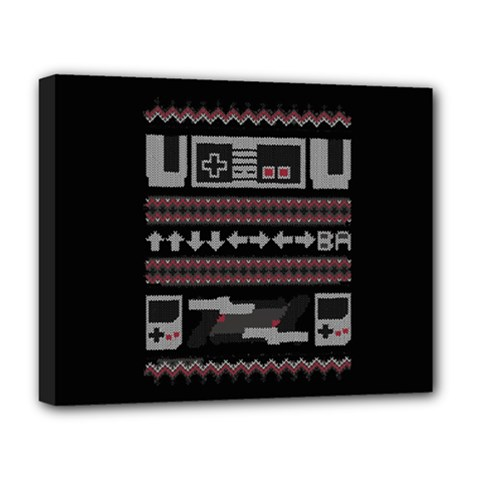 Old School Ugly Holiday Christmas Black Background Deluxe Canvas 20  X 16   by Onesevenart