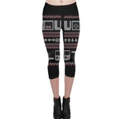 Old School Ugly Holiday Christmas Black Background Capri Leggings  by Onesevenart