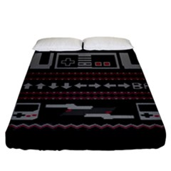 Old School Ugly Holiday Christmas Black Background Fitted Sheet (king Size) by Onesevenart