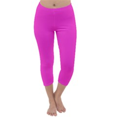 Neon Color - Light Brilliant Fuchsia Capri Winter Leggings  by tarastyle