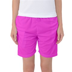 Neon Color   Light Brilliant Fuchsia Women s Basketball Shorts by tarastyle