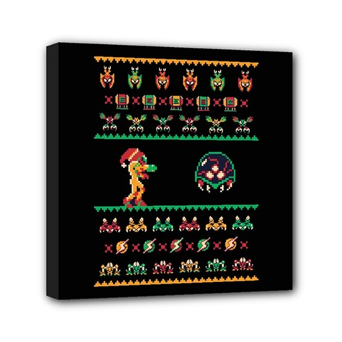 We Wish You A Metroid Christmas Ugly Holiday Christmas Black Background Mini Canvas 6  X 6  by Onesevenart