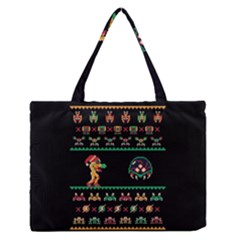 We Wish You A Metroid Christmas Ugly Holiday Christmas Black Background Medium Zipper Tote Bag by Onesevenart