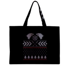 Winter Is Coming Game Of Thrones Ugly Christmas Black Background Zipper Mini Tote Bag by Onesevenart