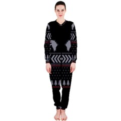 Winter Is Coming Game Of Thrones Ugly Christmas Black Background Onepiece Jumpsuit (ladies)  by Onesevenart