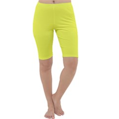 Neon Color   Light Brilliant Yellow Cropped Leggings  by tarastyle