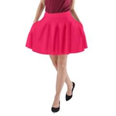 Neon Color   Luminous Vivid Crimson A Line Pocket Skirt by tarastyle