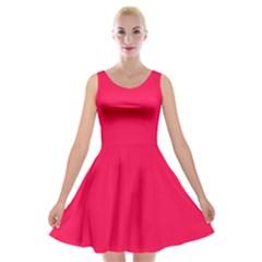 Neon Color   Luminous Vivid Crimson Velvet Skater Dress by tarastyle