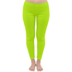 Neon Color   Luminous Vivid Lime Green Classic Winter Leggings by tarastyle