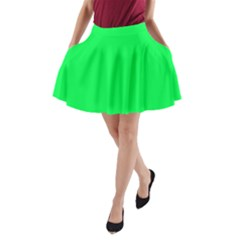 Neon Color   Luminous Vivid Malachite Green A Line Pocket Skirt by tarastyle