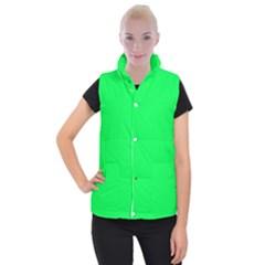Neon Color   Luminous Vivid Malachite Green Women s Button Up Puffer Vest by tarastyle