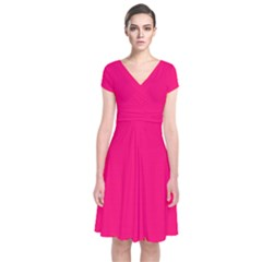 Neon Color   Luminous Vivid Raspberry Short Sleeve Front Wrap Dress by tarastyle