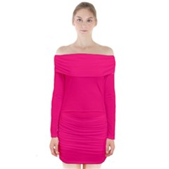 Neon Color   Luminous Vivid Raspberry Long Sleeve Off Shoulder Dress by tarastyle