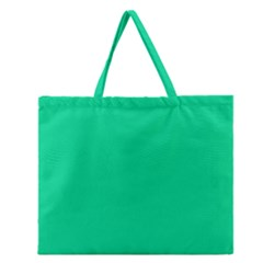 Neon Color   Vivid Aquamarine Zipper Large Tote Bag