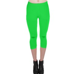 Neon Color   Vivid Malachite Green Capri Leggings  by tarastyle