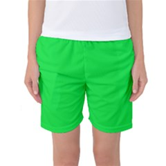 Neon Color   Vivid Malachite Green Women s Basketball Shorts by tarastyle