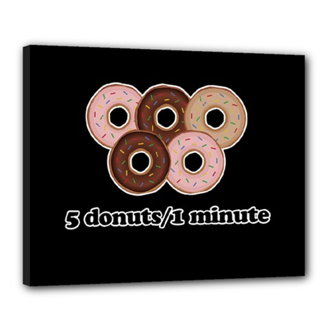 Five Donuts In One Minute  Canvas 20  X 16  by Valentinaart