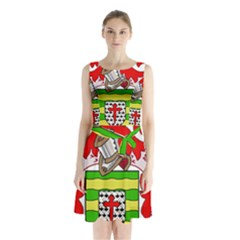 County Donegal Coat Of Arms Sleeveless Waist Tie Chiffon Dress