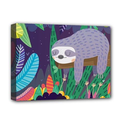 Sloth In Nature Deluxe Canvas 16  X 12   by Mjdaluz